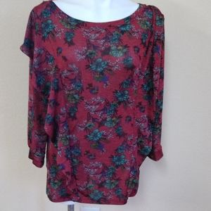 Free People Deep Red Blouse with Flowers Size L